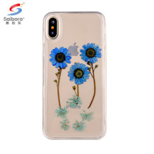Guangzhou mobile phone accessories real dry flower embossed epoxy soft tpu case transparent phone cover for iPhone 6 6s 7 8 X
