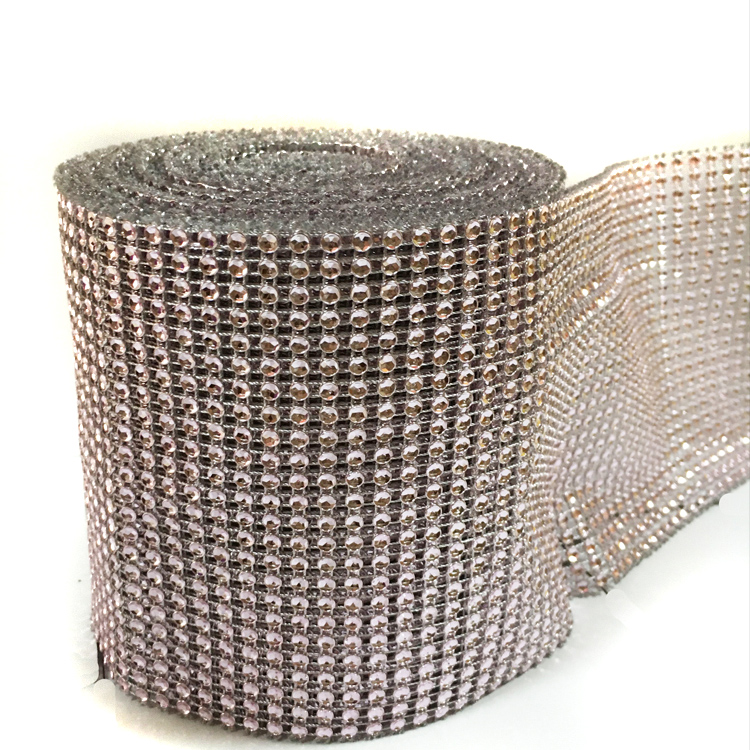 China wholesale 24 rows sew on plastic rhinestone trimming mesh for wedding cake wrap banding decoration
