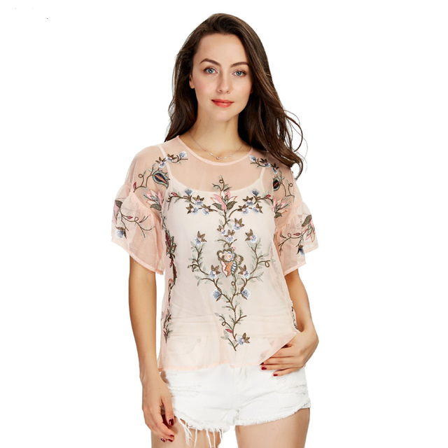 Women sexy flower embroidery ruffles mesh shirts see through transparent short sleeve blouse ladies casual tops blusas
