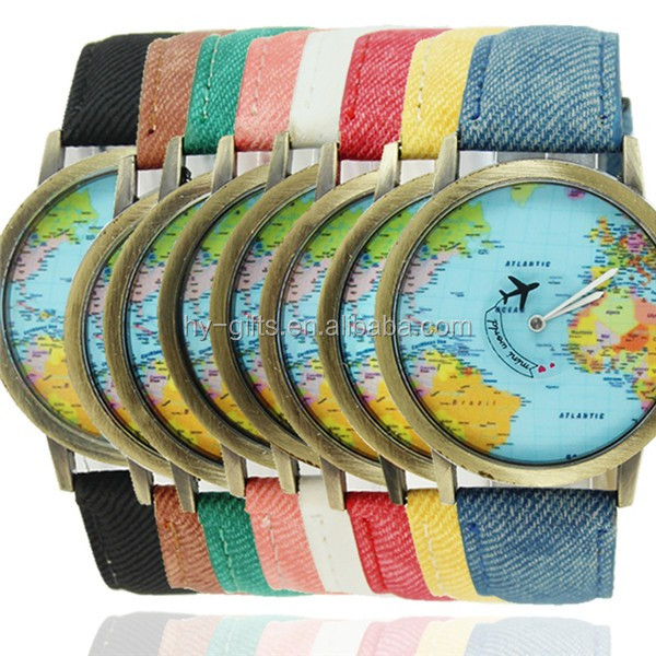 hot mini world map watch fancy vogue fabric unisex map watch
