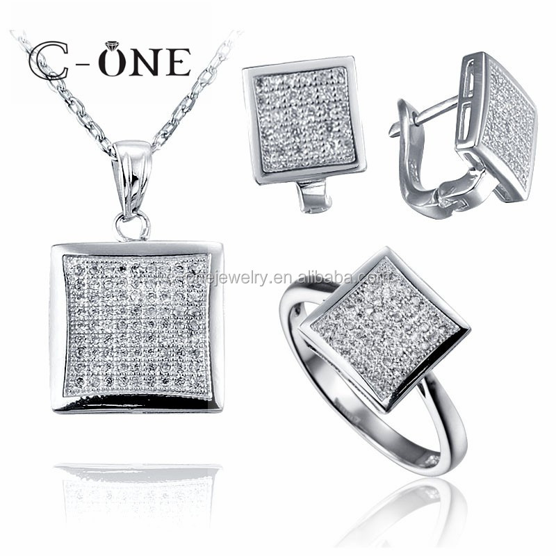 New Arrival micro pave setting Silver Necklace Set For Women