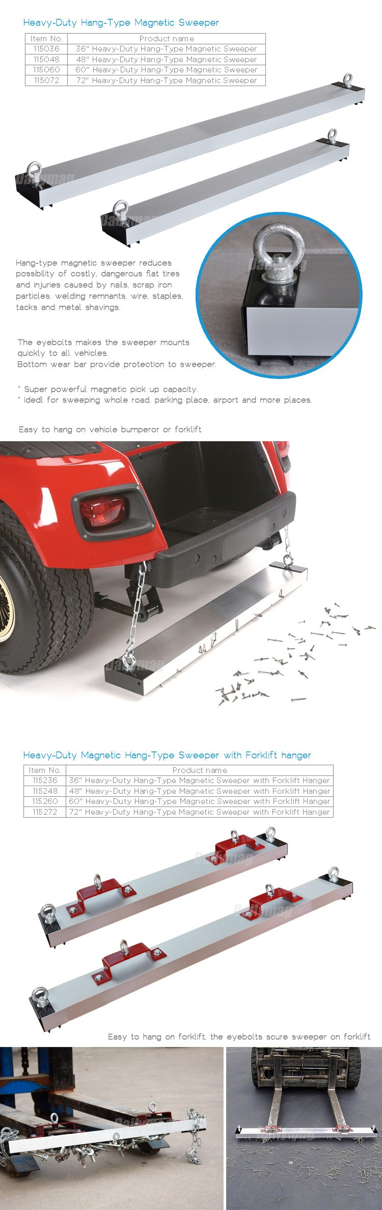 Magnetic Street Sweeper Forklift Cleaner Floor Sweeper Truck Road Sweeper