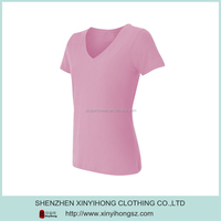 Cute Pink V Shape 100% Polyester Collar Sport T Shirts For Women