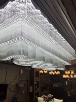 Big hotel Metal Crystal Silver pendant lighting