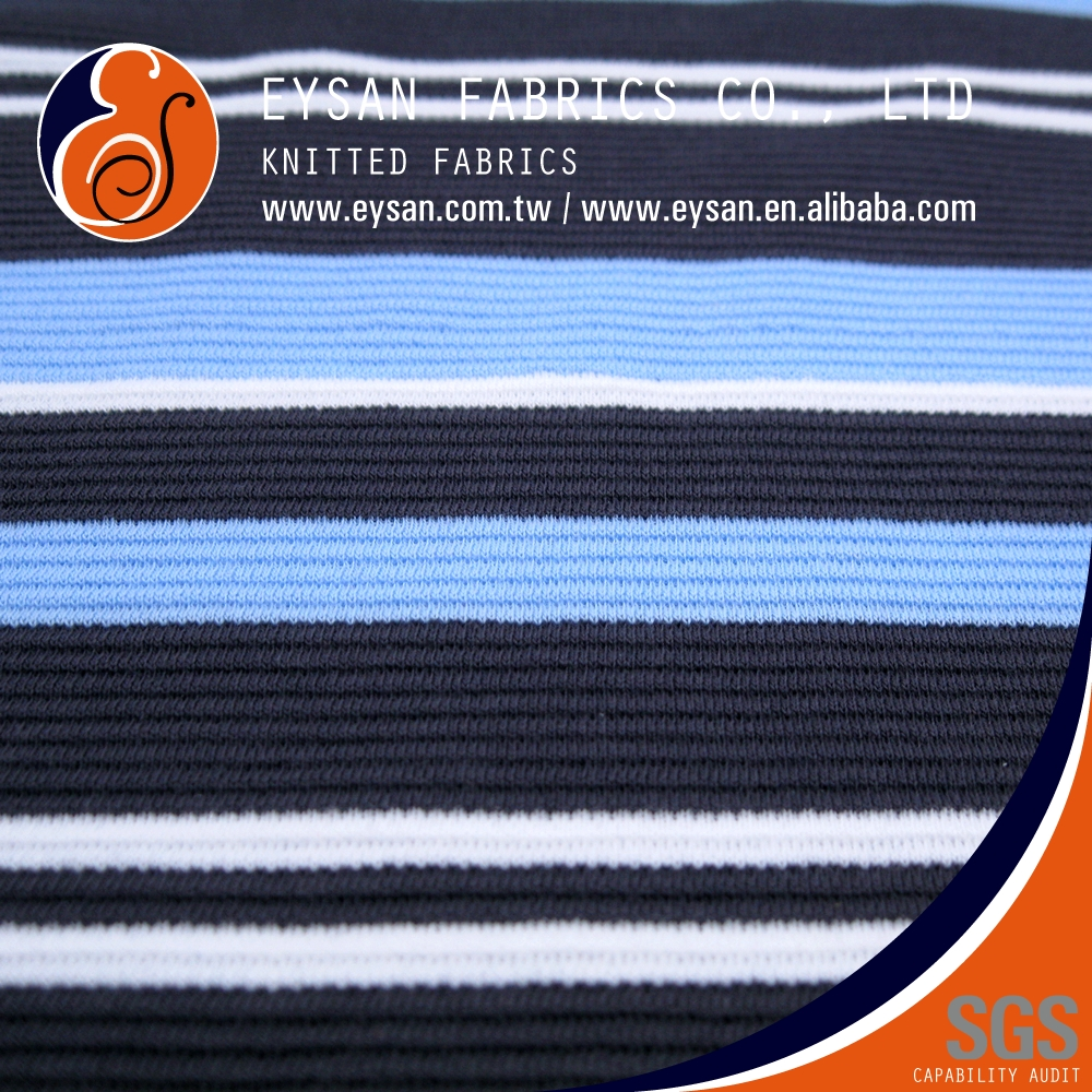 EYSAN Polyester Cotton Stripe Ottoman RIB Jersey Knit Fabric