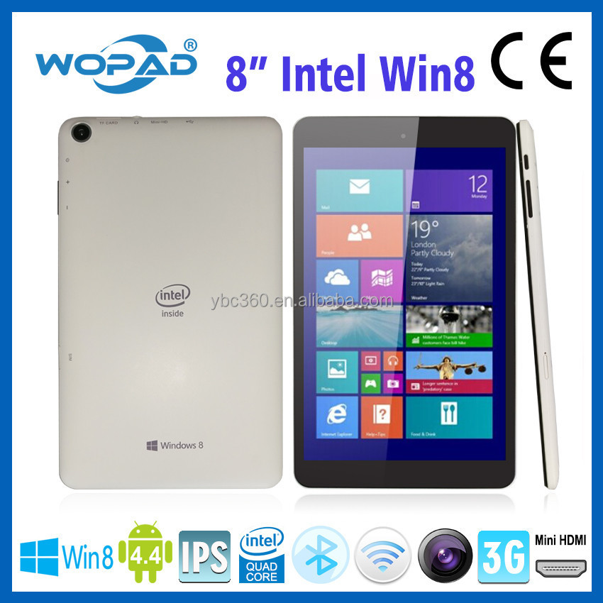 High quality cheap wopad 8 inch tablet pc Intel quad core win 8 Android 4.4 dual system