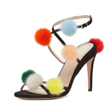 Colorful fur ball design ankle strap high heel ladies sandal shoes