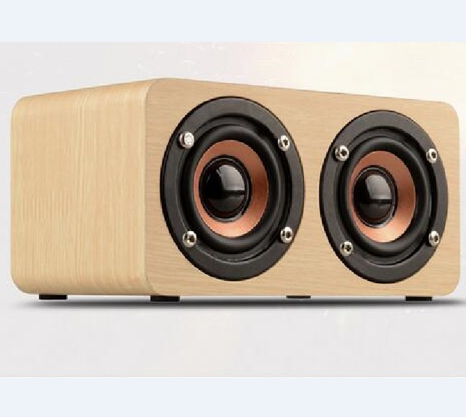 Dual Surround Super Bass Stereo Wooden Portable Wireless Bluetooth Speaker