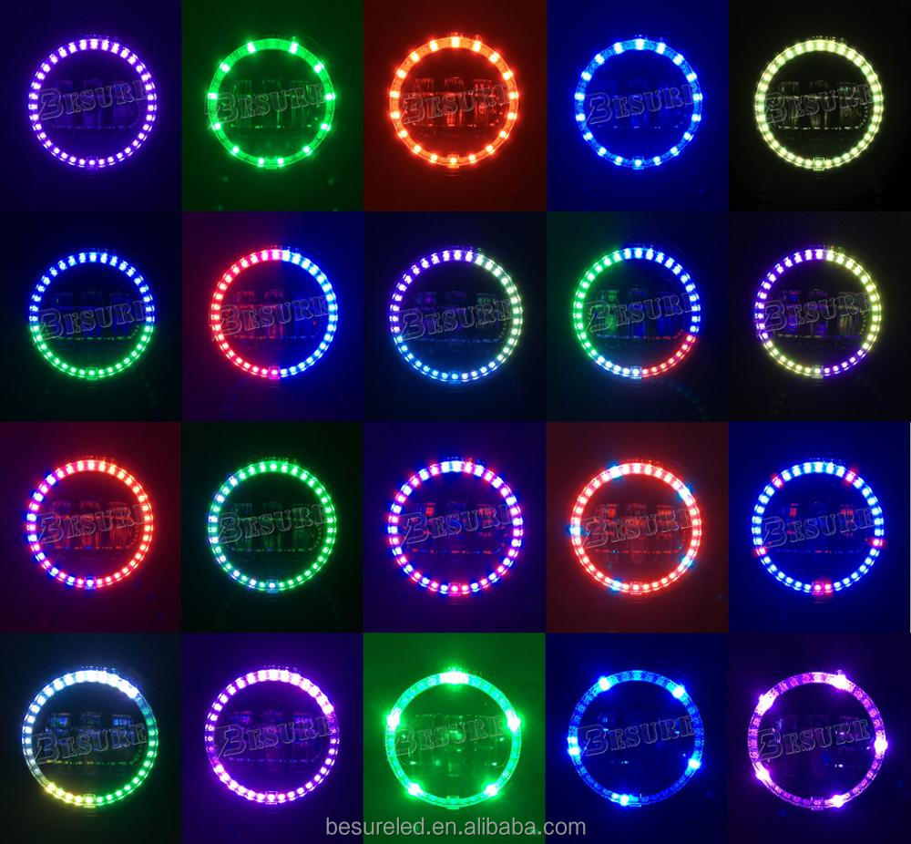 "RGB LED Music Control DIY Color Car Atmosphere Lamp Bluetooth 4"" Inch RGB LED Fog Light For Jeep Wrangler"