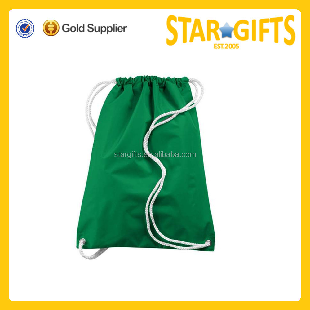 Shipping company promotional nylon outdoor dark green drawstring bag