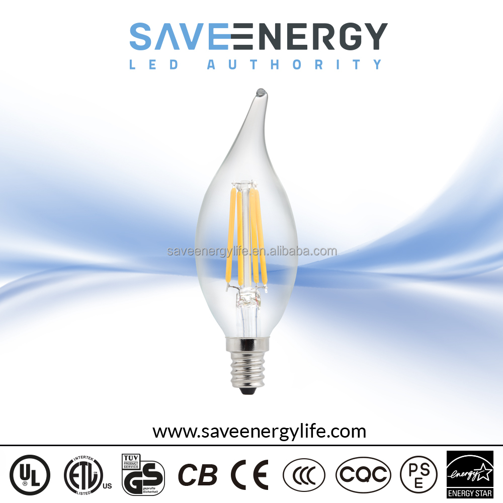 dimmable led e14 candle 2500k filament cob dimmable candle/360 degree clear led bulb