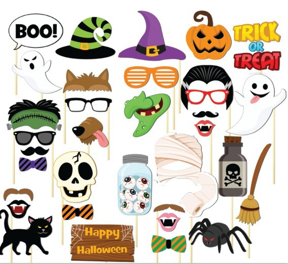 22pcs Party Halloween Terror Mask Photo Booth Props On A Stick Pub Decor Supplies Halloween DIY Photo Props