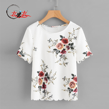 2018 Ladies New Flower Print Round Neck Short Sleeve Scalloped Hem Floral Print Top