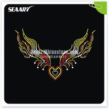 rhinestone transfer iron on angel wings hot fix rhinestone motif wholesale for afro girl clothing