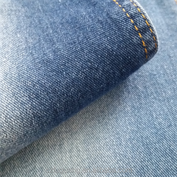9OZ recycle cotton <strong>poly</strong> spandex twill woven denim fabric for jeans