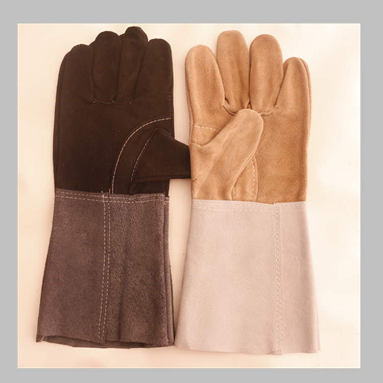Long cow split leather welding gloves back full lining comfortable tool <strong>safety</strong> working gloves