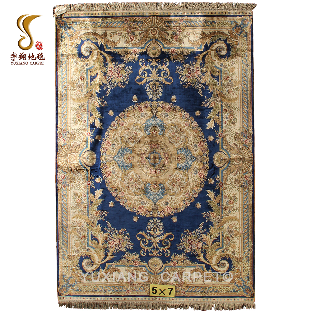2018 Fashion Design 5*7ft 260Lines 470Knots <strong>100</strong>% Hand Knotted Blue Floral Silk Rugs and Carpets Persian