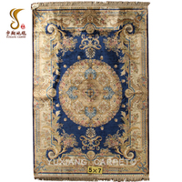 2018 Fashion Design 5*7ft 260Lines 470Knots 100% Hand Knotted Blue Floral Silk Rugs and Carpets Persian