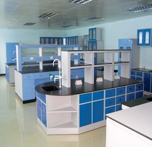 Lab equipment wooden steel Island bench with PP sticks and sink and reagent shelf laboratory side bench in guangzhou