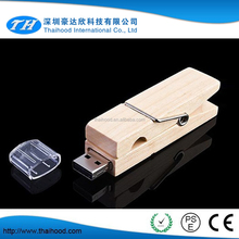 Natural wooden clip usb flash drive, bamboo usb stick, clamp-shape usb stick 2.0
