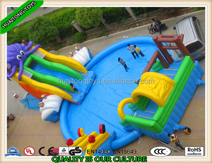 2016 best popular durable large inflatable water park playground slide with pool on land for sale