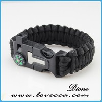 Paracord bracelet with compass, outdoor survival bracelet with whistles and firestarter