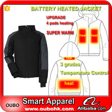 Winter thick clothes stylish coats wholesale warm <strong>men</strong> padded jacket with 4 heated pads battery heated jacket outdoor OUBOHK