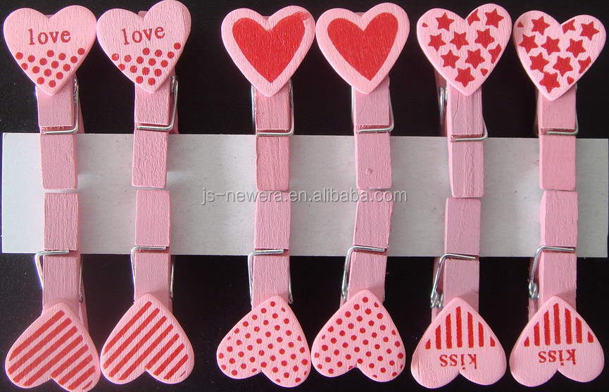 heart design pink red craft wooden cloth pegs