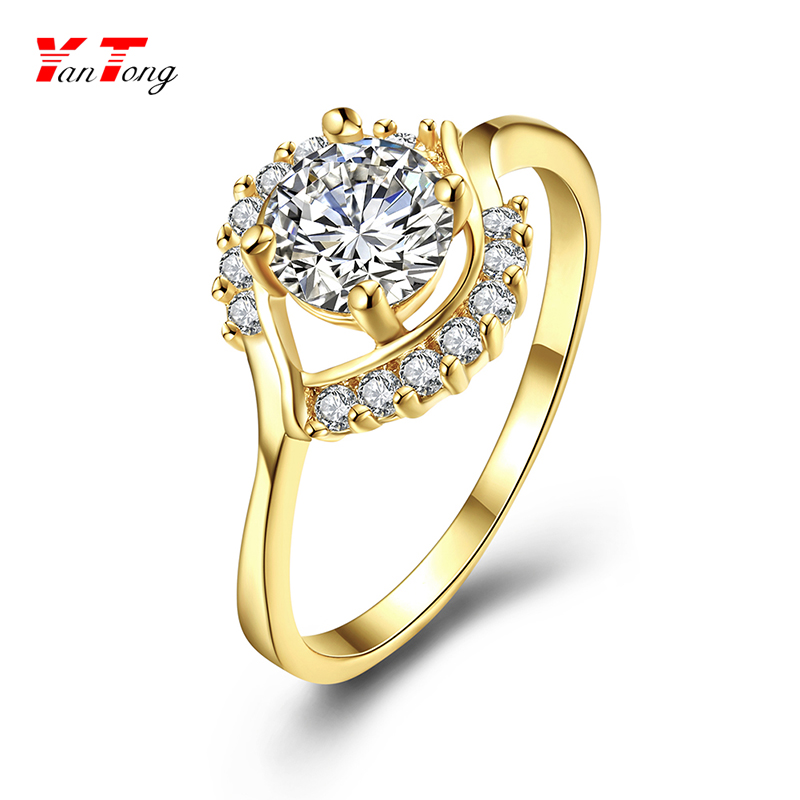 Wholesale Fixed Price $1.29 Jewelry Ring 1 to 4 Gram Symmetrical Zircon Gold Ring