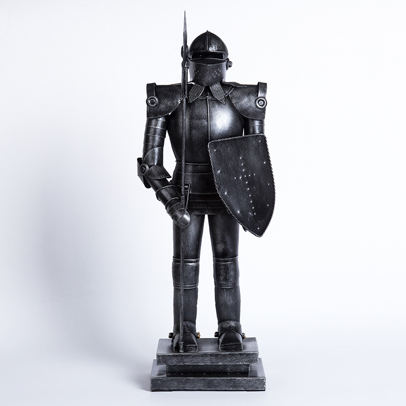 decorative medieval suit of warrior armor with spear and shield WM3001