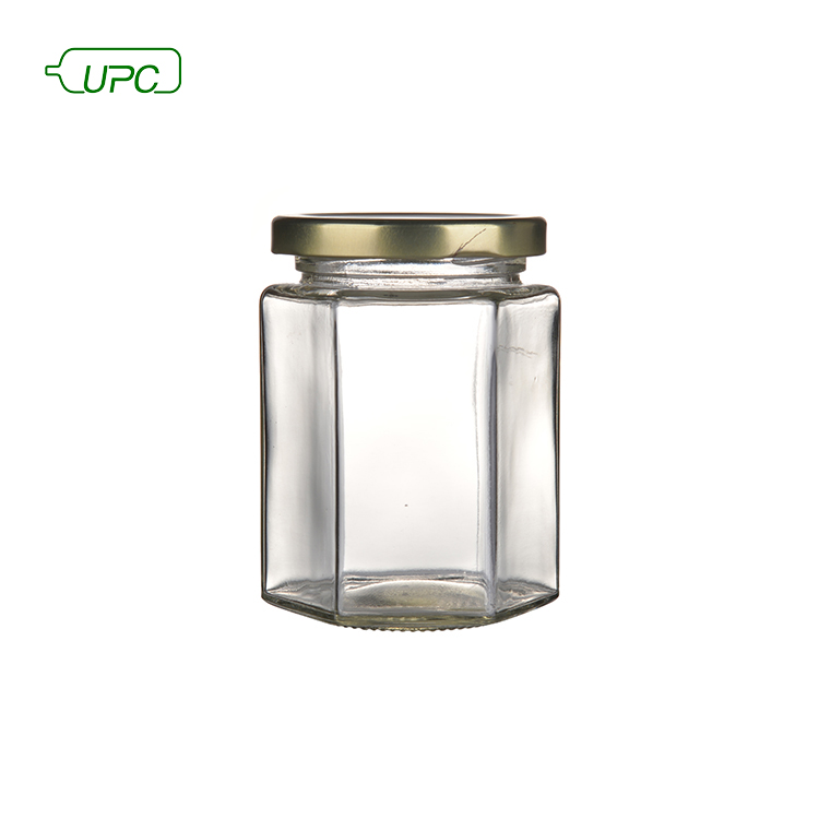 Good quality clear recycled glass jam food storage jar metal lid