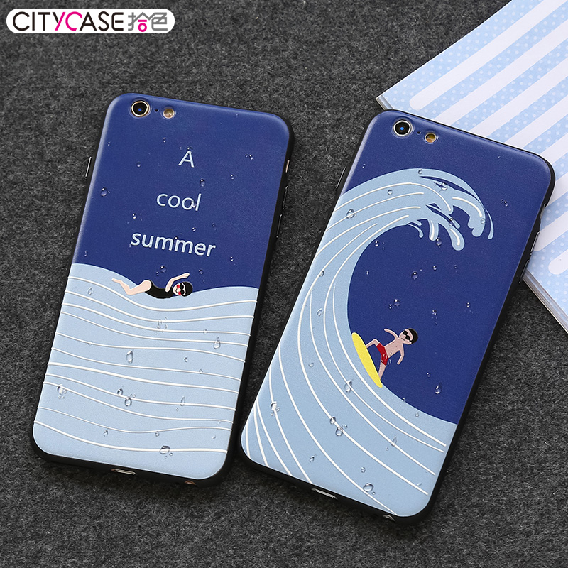 CITYCASE surfing Couples flexible sublimation phone case / Cool cell phone case for iphone 6 6s plus