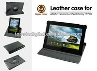 Good quality 360 degree rotating PU leather case for Asus TF700 with multi angle