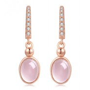 OB Jewelry-6x8mm 100% Natural Gemstone Oval Egg Rose Quartz Earrings/Necklace/Rings 925 Sterling Silver Jewelry Set