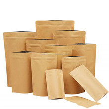 250g 500g Wholesale resealable brown stand Up Foil Lined Kraft Paper Bag For Coffee Beans
