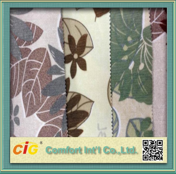 Sofa And Curtain Use Soft Flock Velvet Fabric of Leaves