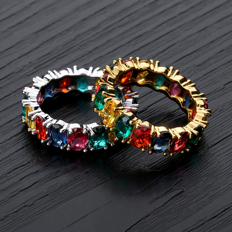 Fashion Multi Color Rainbow Womens Gold HIPHOP Finger Rings