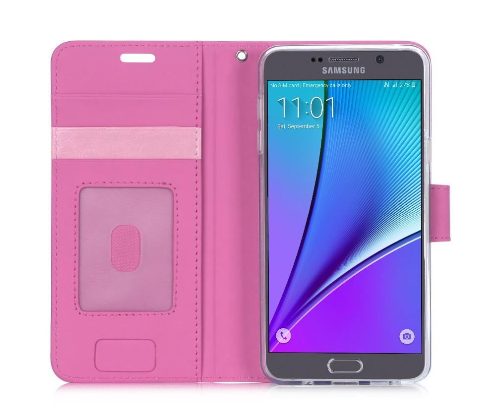 Manufacturer Fancy Beauty Wallet Case Smart PU Cell Phone Case For Samsung Note 5