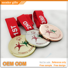 copper plated zinc die struck medal hanger with polyester ribbon
