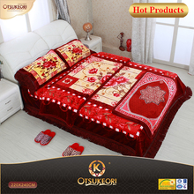 polyester high class minky blanket, 7 PC bedding set with Prayer carpet.