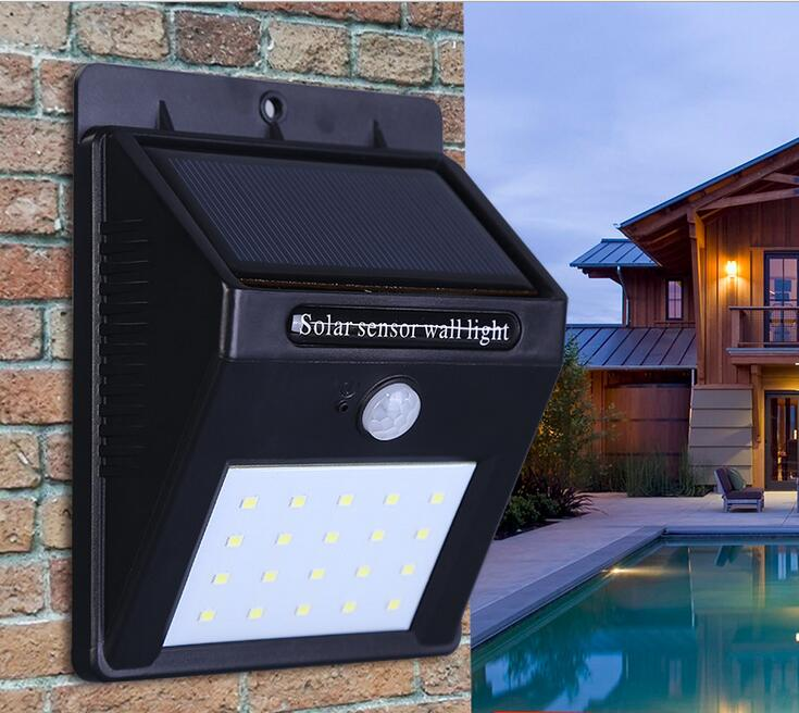 LED Solar Lamp Waterproof PIR Motion Sensor Solar Light Power Garden LED Solar Light Outdoor ABS Wall Lamp