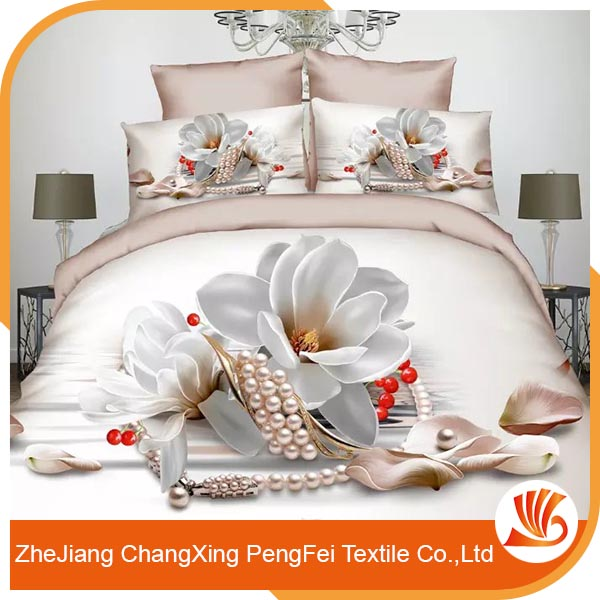 New product 3d flower printed bedding set fabric for wholesale