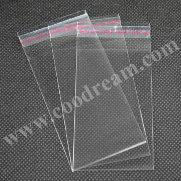12x24cm self adhesive clear opp plastic packing bags for greeting cards