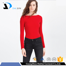 custom printing women red long sleeve plain slim china t shirt factory