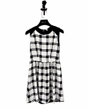 Cowl neck dress black white plaid check with fashionable dress for chinese clothes brands