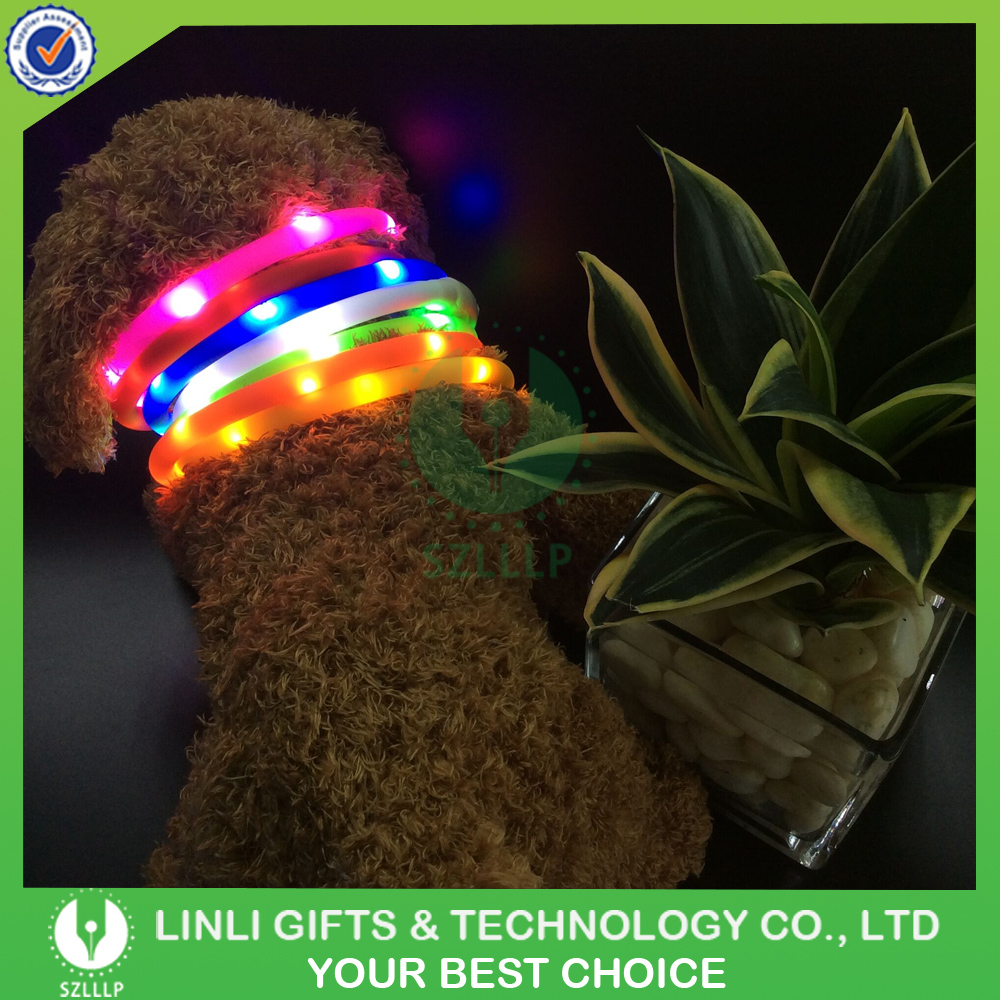 Fashion LED USB Rechargeable Pet Dog Collars For Safety