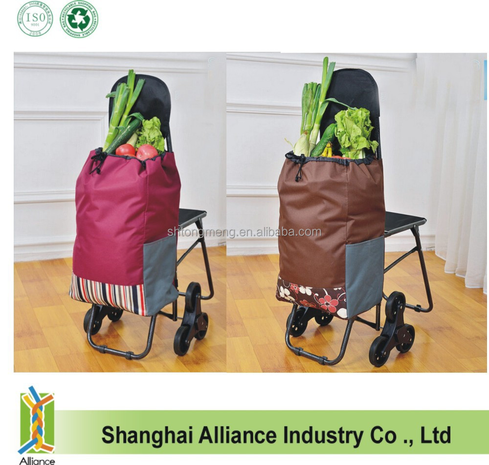 6 Wheels Stair Climber Grocery Folding Shopping Trolley Bag With Chair
