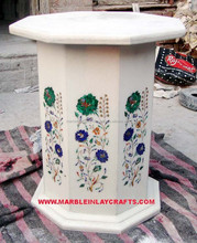 White Stone Inlay Table Stand
