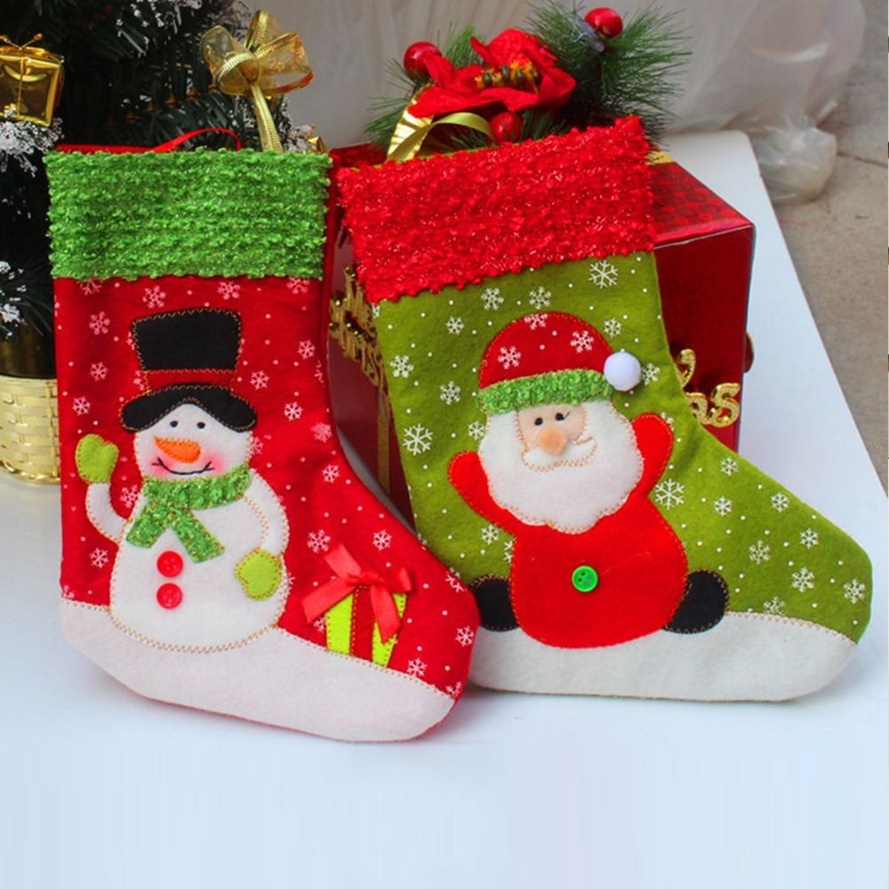 1pair Santa/Snowman Xmas Stocks Indoor Hanging Stockings Christmas Decoration Santa Claus Doll Christmas Gift For kids Candy Bag