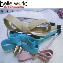 New Design Lady Alice Hair Band Leather Bowknot Alloy Accessory
